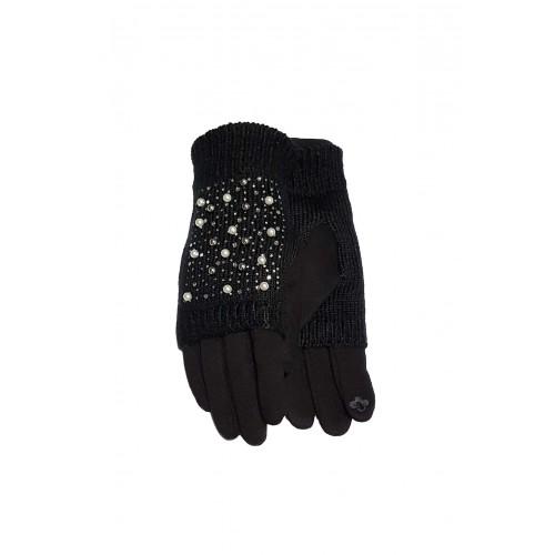 Moteriškos juodos pirštinės su pašiltinimu liečiamam ekranui 2in1 MS01