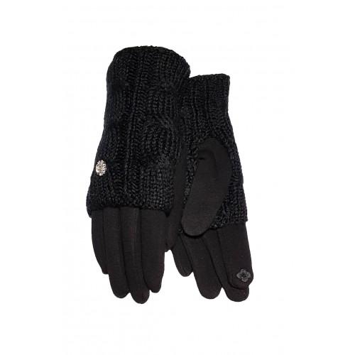 Moteriškos juodos pirštinės su pašiltinimu liečiamam ekranui 2in1 MS04
