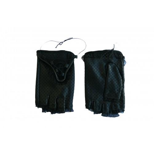 Moteriškos odinės pirštinės be pirštų su gipiūru