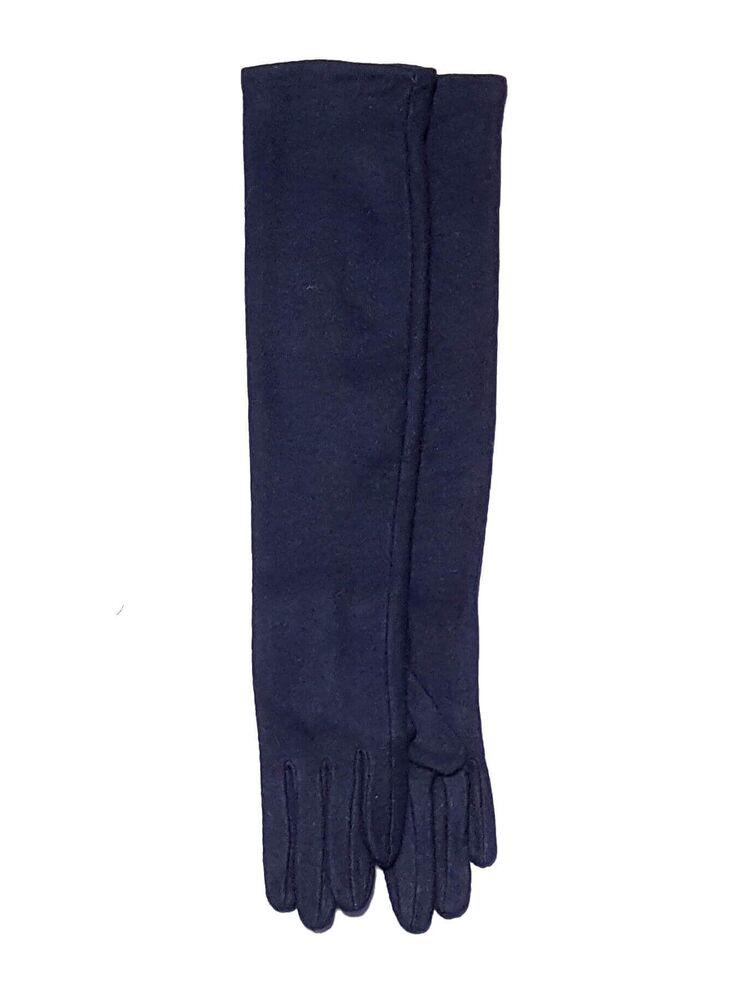 Moteriškos Ilgos Mėlynos Angoros Vilnos Pirštinės I48
