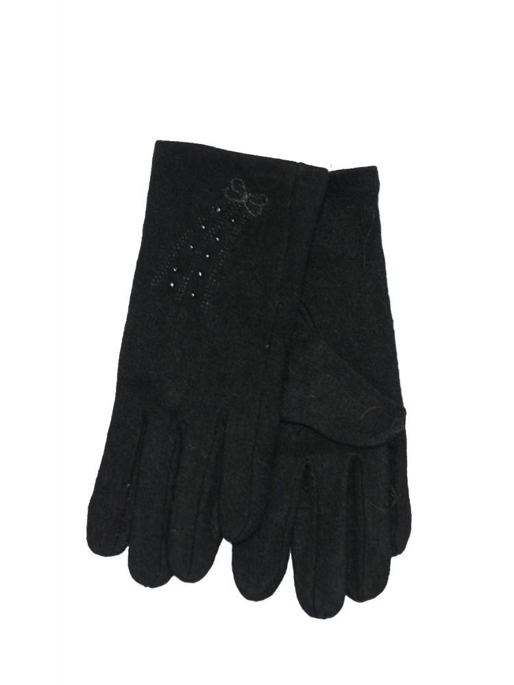 Moteriškos juodos angoros vilnos pirštinės MA102