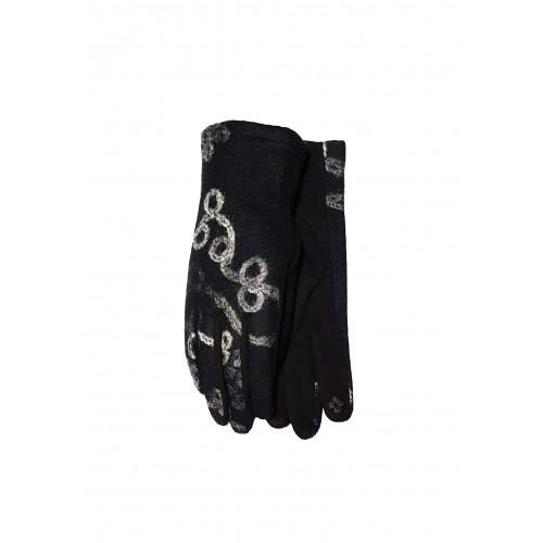 Moteriškos juodos pirštinės su pašiltinimu liečiamam ekranui E482
