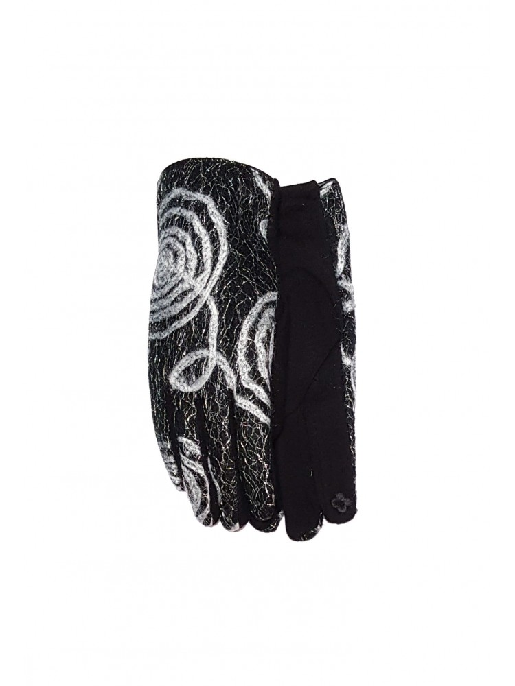 Moteriškos juodos pirštinės su pašiltinimu liečiamam ekranui E221