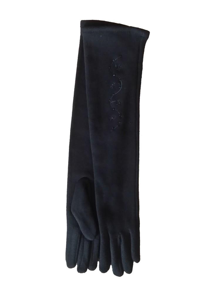 Moteriškos ilgos juodos pirštinės su pašiltinimu I25