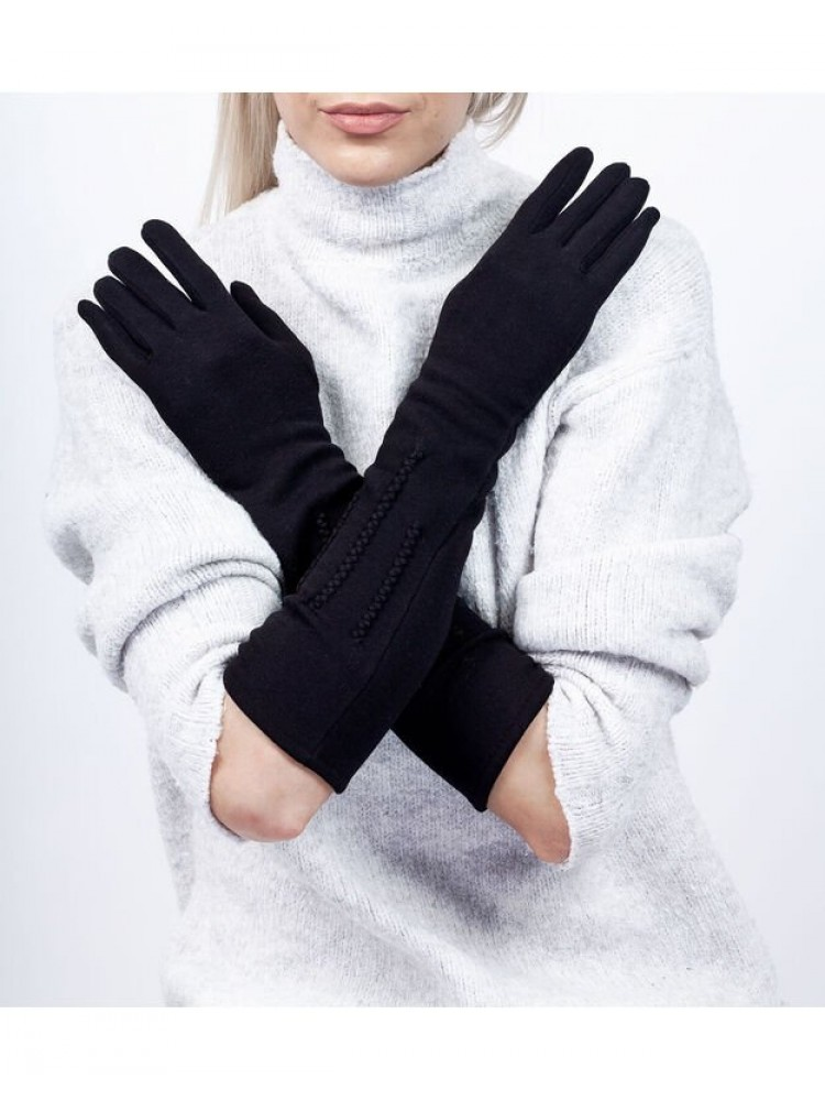 Moteriškos ilgos juodos pirštinės su pašiltinimu I29