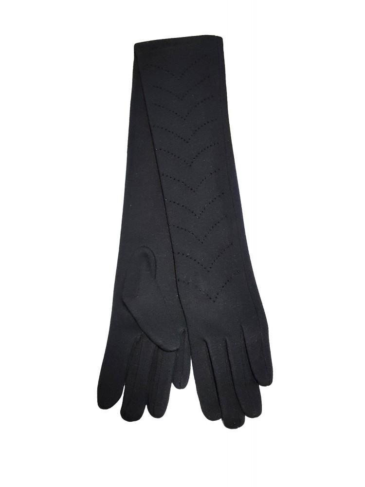 Moteriškos ilgos juodos pirštinės su pašiltinimu I34