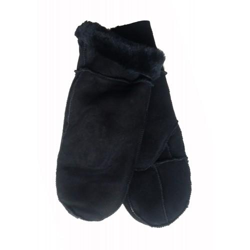 Moteriškos juodos kailinės kumštinės K201