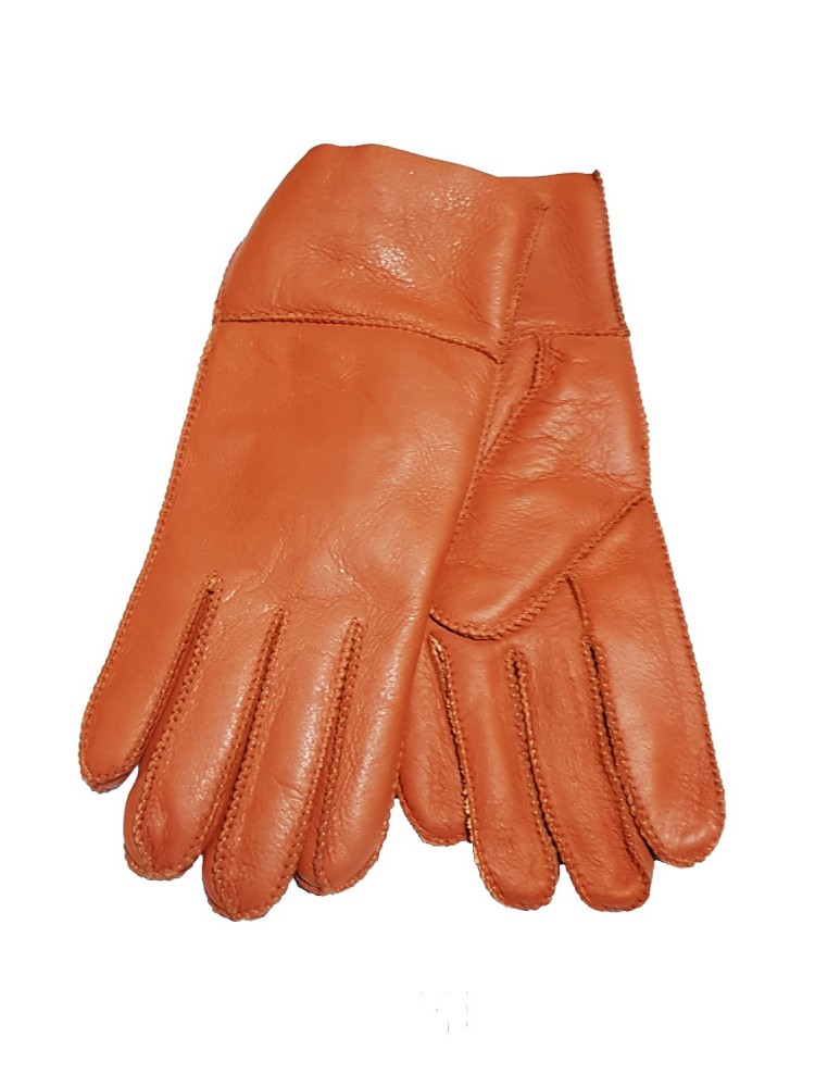 Moteriškos oranžinės kailinės pirštinės K116