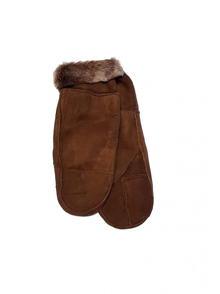 Moteriškos rudos šiltos kailinės kumštinės K209