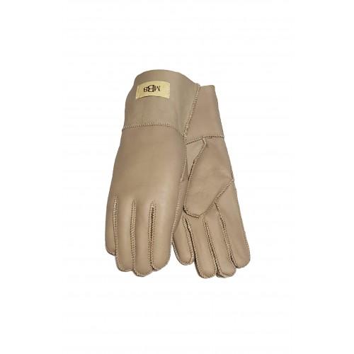 Moteriškos smėlio spalvos šiltos kailinės pirštinės MK04