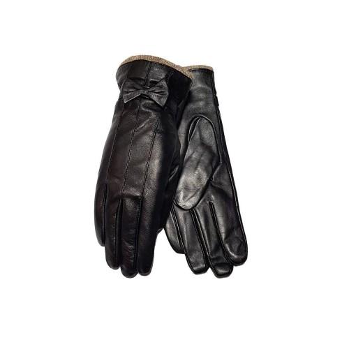 Moteriškos juodos natūralios ožkos odos pirštinės su vilnoniu pamušalu MO25