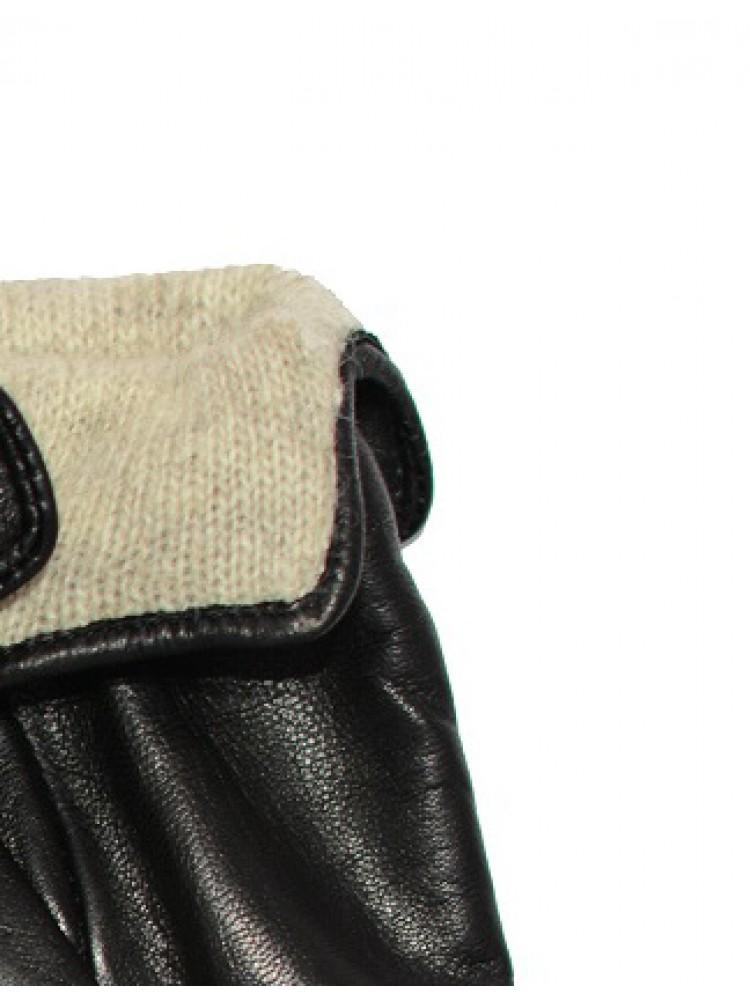 Moteriškos juodos natūralios ožkos odos pirštinės su vilnoniu pamušalu O214