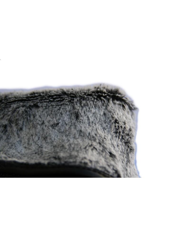 Moteriškos juodos odinės pirštinės su baltu kailiuku G02
