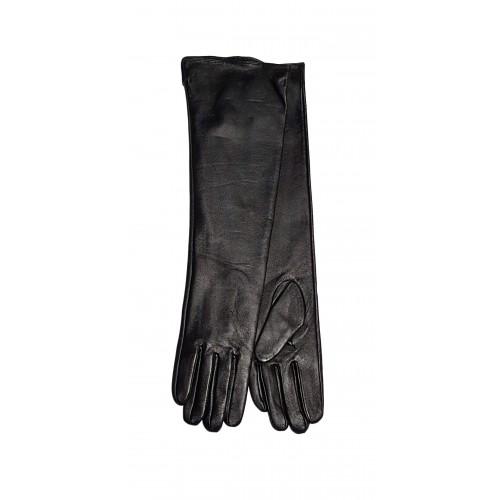 Moteriškos ilgos juodos natūralios ožkos odos pirštinės su pašiltinimu MI01