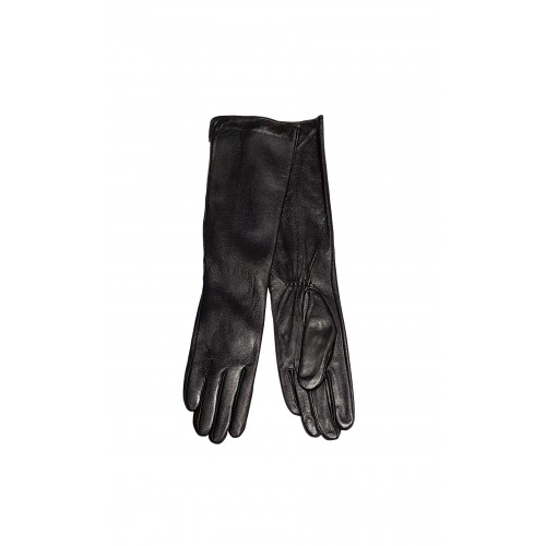Moteriškos ilgos juodos natūralios odos pirštinės su pašiltinimu MI25