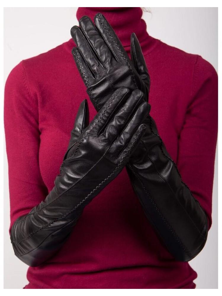 Moteriškos ilgos juodos natūralios ožkos odos pirštinės su pašiltinimu MI32