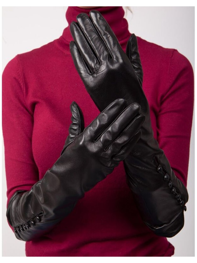 Moteriškos ilgos juodos natūralios ožkos odos pirštinės su pašiltinimu MI33