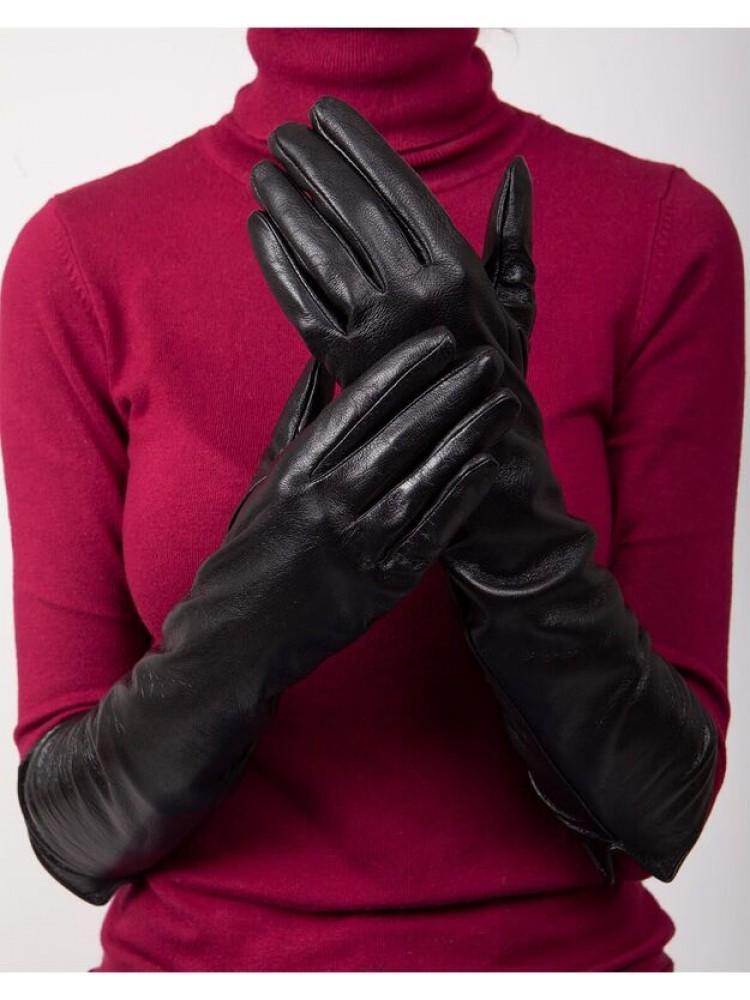 Moteriškos Ilgos Juodos Natūralios Odos Pirštinės Su Pamušalu MI47