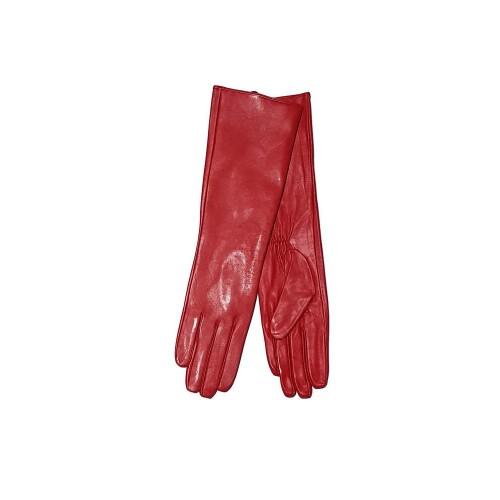 Moteriškos pusiau ilgos raudonos natūralios ožkos odos pirštinės su pašiltinimu MI40