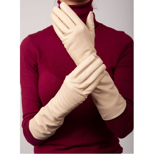 Moteriškos pusiau ilgos natūralios ožkos odos pirštinės su pašiltinimu MI39