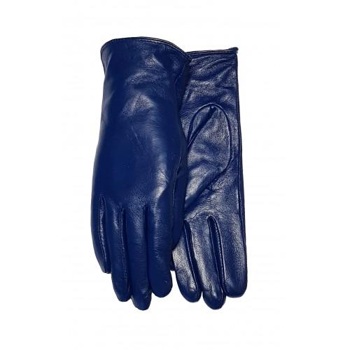 Moteriškos mėlynos natūralios odos pirštinės su pašiltinimu O254