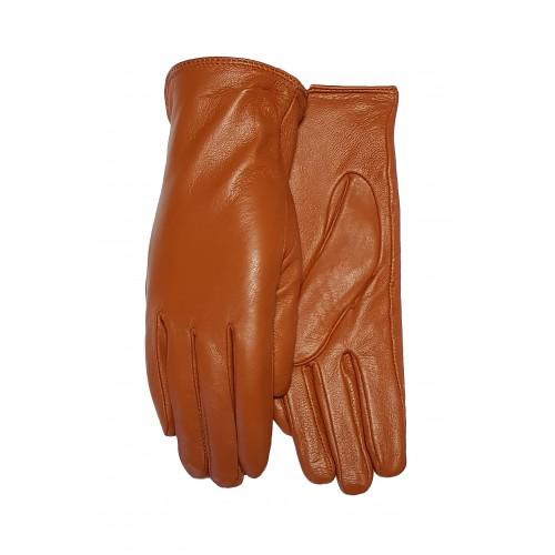 Moteriškos rudos natūralios odos pirštinės su pašiltinimu O250