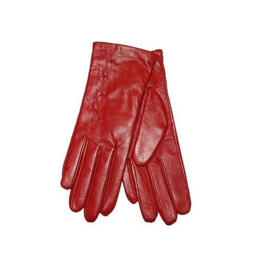 Moteriškos raudonos natūralios odos pirštinės su vilnoniu pamušalu O2111