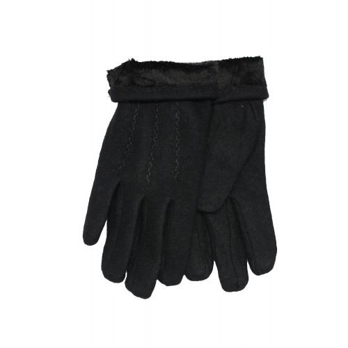 Vyriškos juodos angoros vilnos pirštinės su pašiltinimu V22