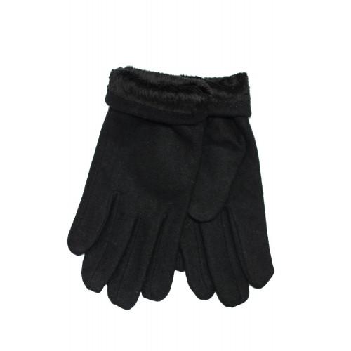 Vyriškos juodos angoros vilnos pirštinės su pašiltinimu V23