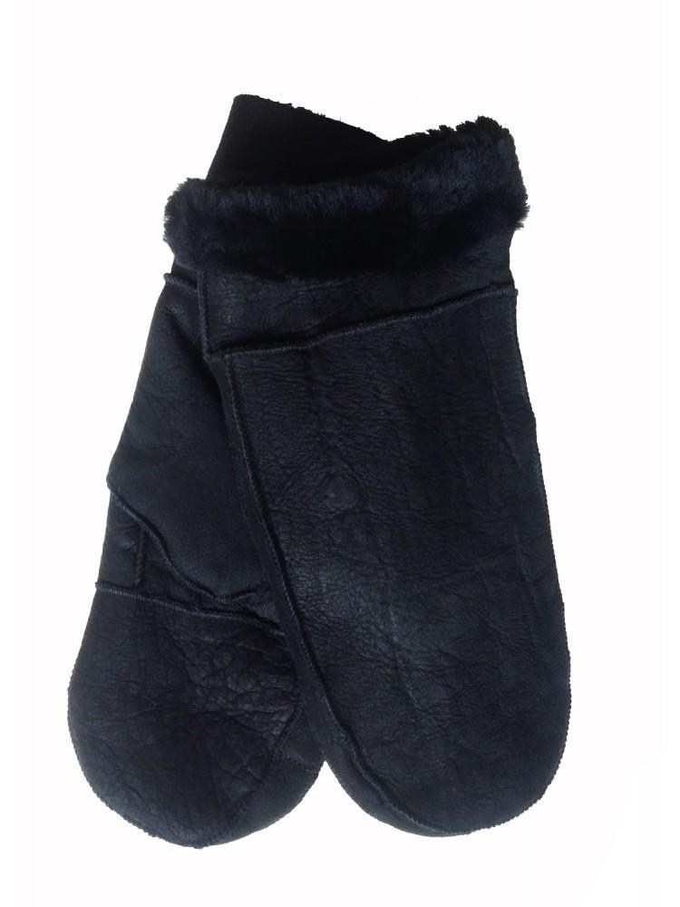 Vyriškos juodos šiltos kailinės kumštinės V1003