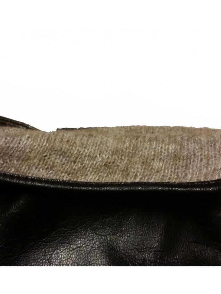 Vyriškos juodos natūralios ožkos odos pirštinės su vilnoniu pamušalu VO28