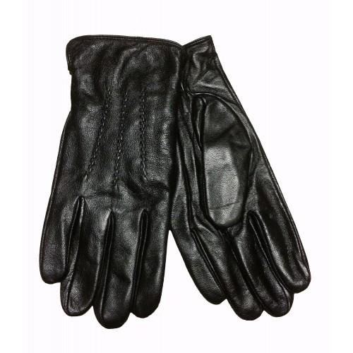 Vyriškos juodos natūralios odos pirštinės su fliso pamušalu OV05