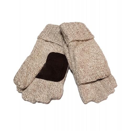 Vyriškos smėlio spalvos megztos atverčiamos dvigubos pirštinės VM06