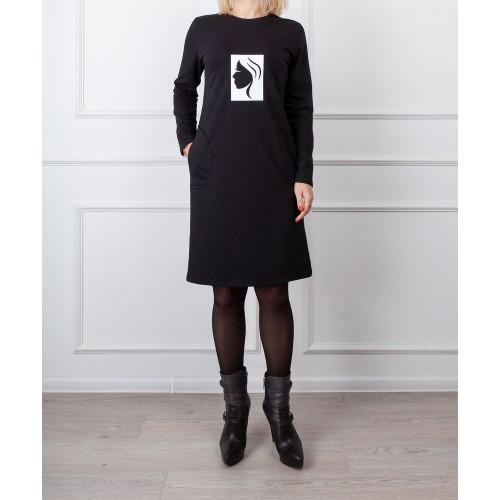 Moteriška juoda laisvalaikio suknelė su piešiniu LEN01
