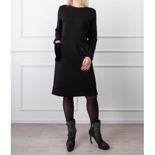 Moteriška juoda laisvalaikio suknelė LEN07