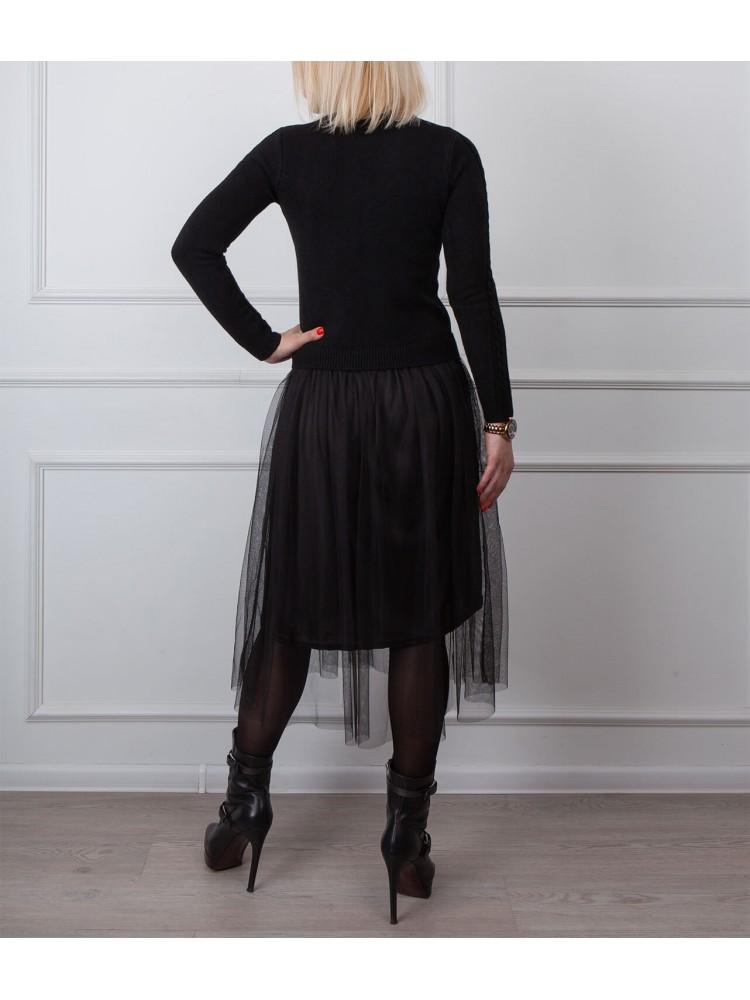 Moteriška juoda laisvalaikio suknelė LEN12