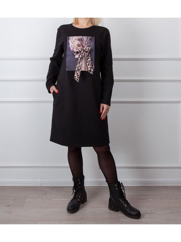 Moteriška juoda laisvalaikio suknelė su piešiniu LEN02