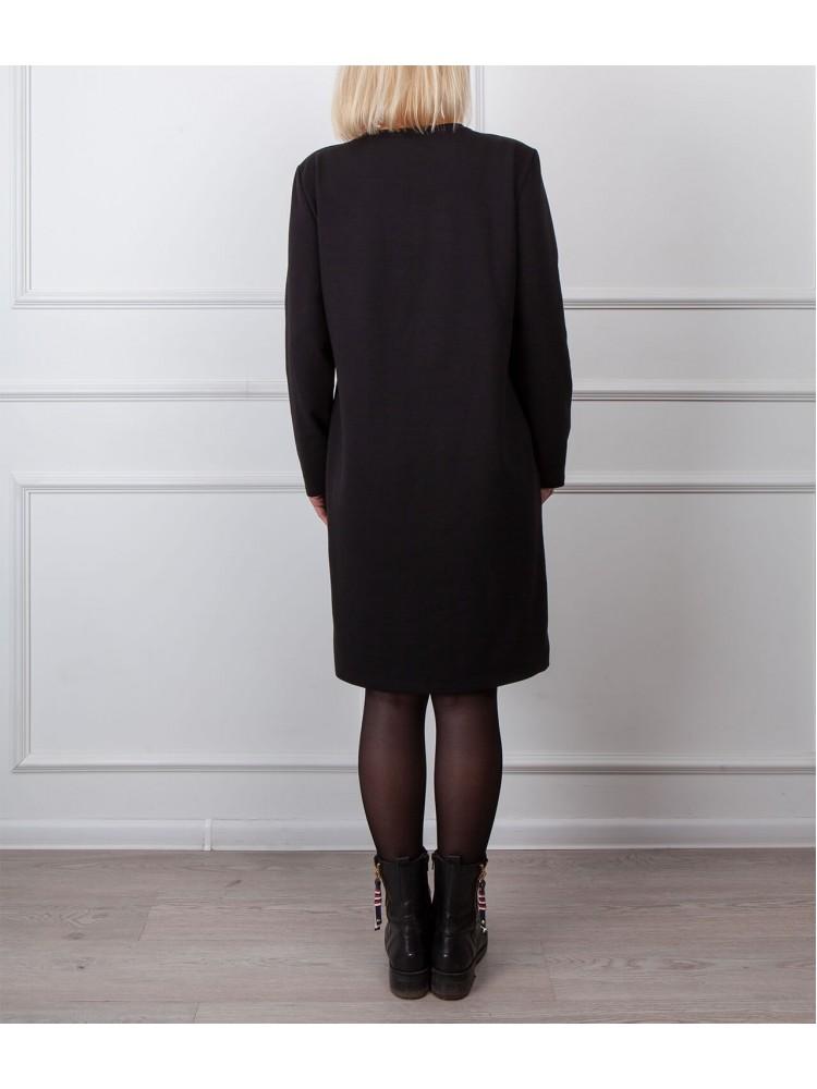 Moteriška juoda laisvalaikio suknelė su piešiniu LEN03