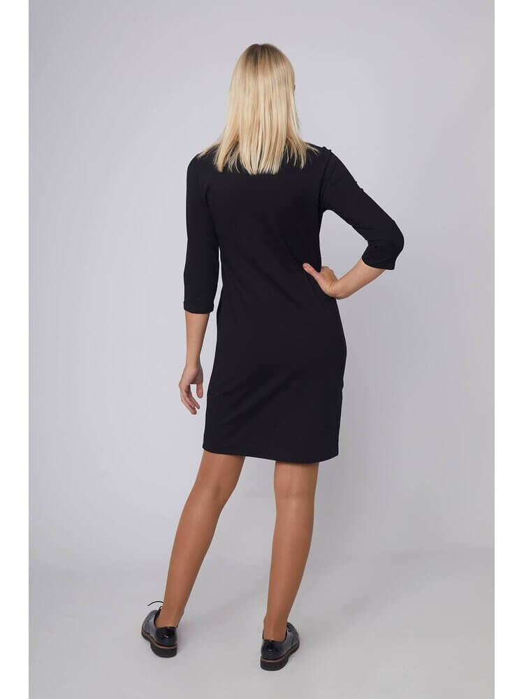 Moteriška juoda laisvalaikio suknelė su piešiniu LEN100