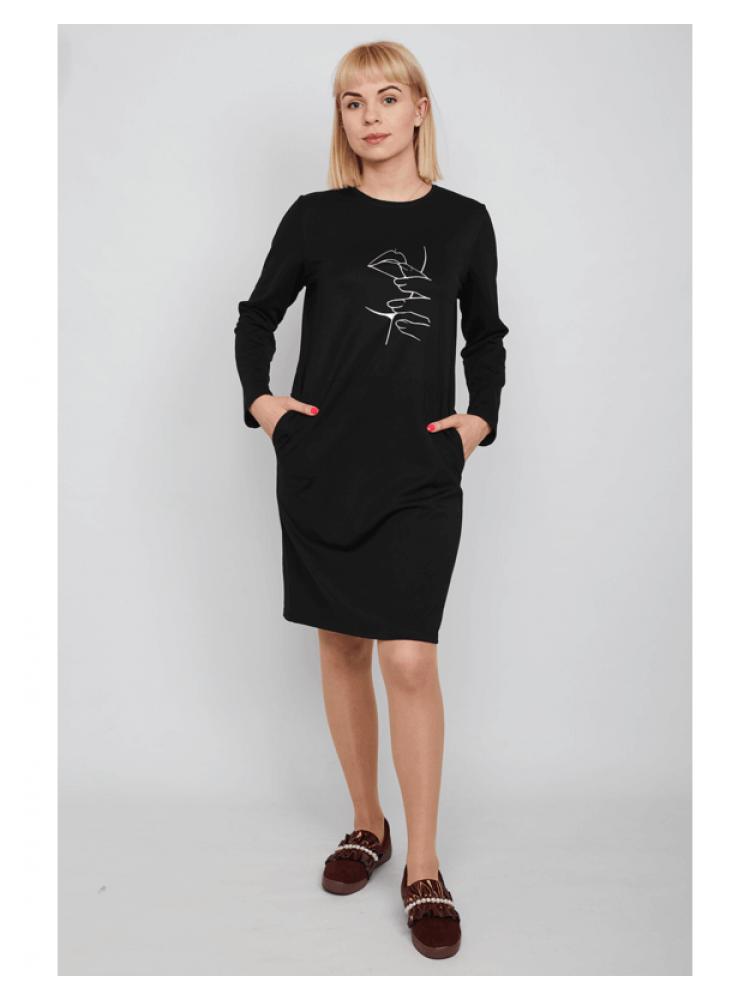 Moteriška juoda laisvalaikio suknelė su piešiniu LEN200