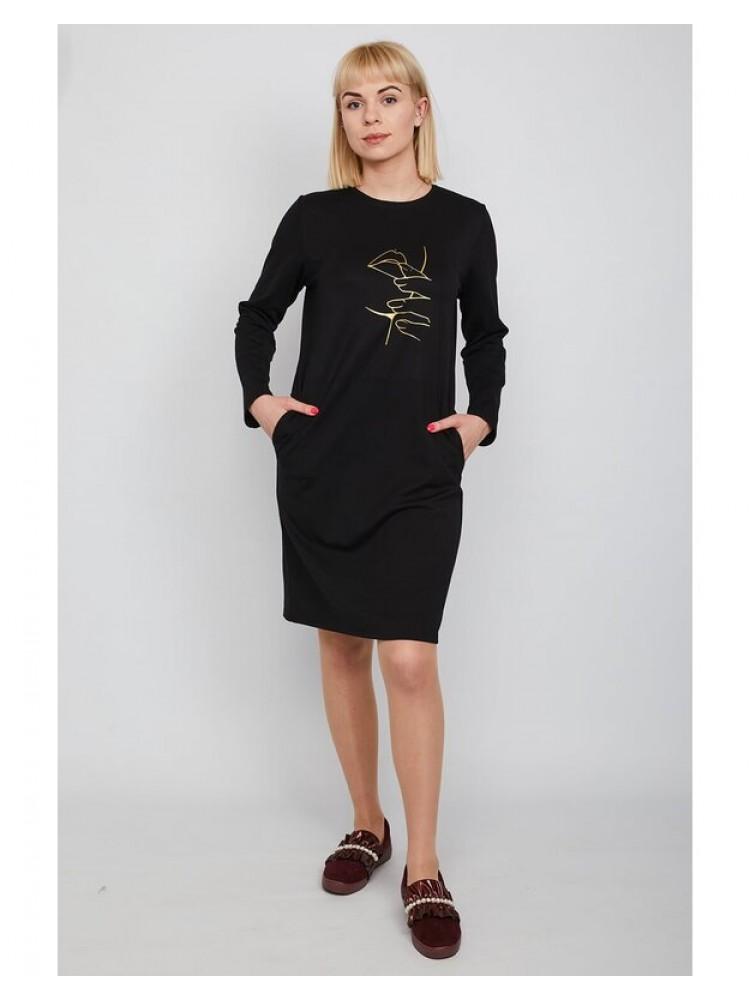 Moteriška juoda laisvalaikio suknelė su piešiniu LEN204