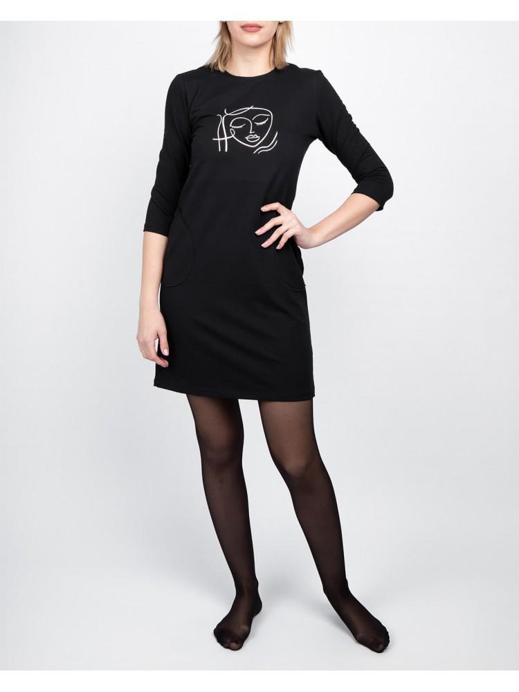 Moteriška juoda laisvalaikio suknelė su piešiniu LEN29