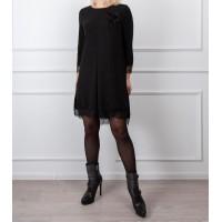 Moteriška juoda suknelė su gipiūru LEN08