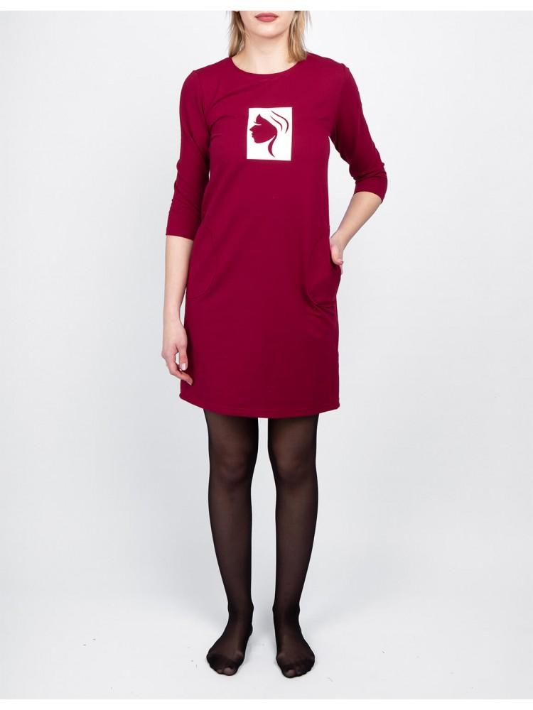Moteriška raudona laisvalaikio suknelė su piešiniu LEN01-1