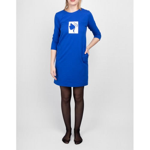 Moteriška mėlyna laisvalaikio suknelė su piešiniu LEN01-2