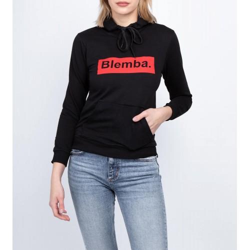 Moteriškas juodas laisvalaikio džemperis su gobtuvu LEN50