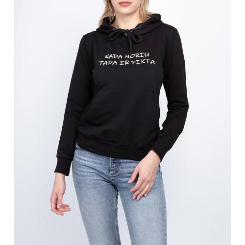 Moteriškas juodas laisvalaikio džemperis su gobtuvu LEN52