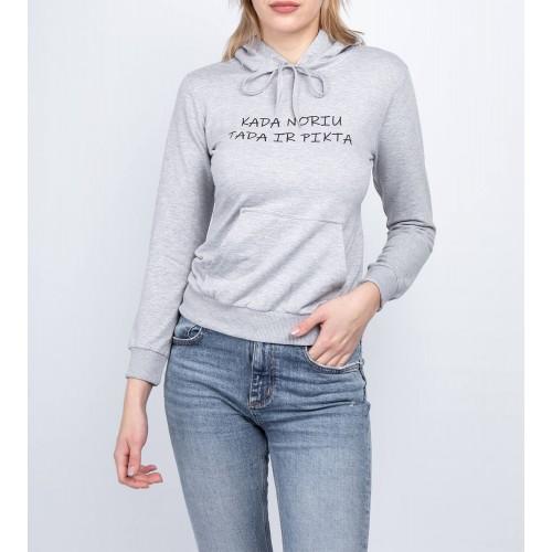Moteriškas pilkas laisvalaikio džemperis su gobtuvu LEN51