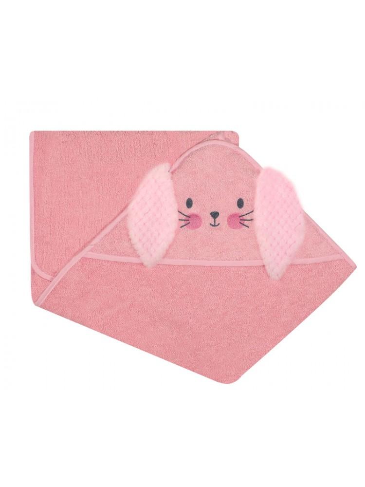 Vaikiškas rankšluostis su gobtuvu frotinis rožinis 100x120